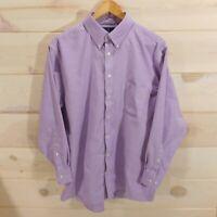 Stafford Men's Size 17 Regular Fit 32-33 Travel Wrinkle Free Oxford Shirt Purple
