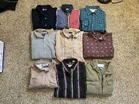Lot / Bundle of 9 Various Sizes/brands Long Sleeve Button Up Shirts...Ships Free
