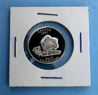 2005 S Kansas Deep Cameo Silver State Quarter, Extra Frosty Silver Gem Coin