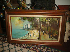 Vintage Oil Painting On Canvas Signed Foster-Mid Century-Ocean-People Walking