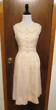 Vintage Chanel Pink Linen Sleeveless Pleated Button Front Shift Dress Sz 34