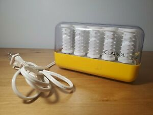 Vintage Clairol Hot Rollers Yellow Case Tested Works w/ Clips (C-14-1) Rare Find