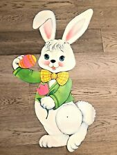 "Vintage Large 32""x13"" Ultra Rare Bunny Moveable Ears HTF Easter Decoration VTG"