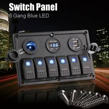 6 Gang Waterproof RV Marine Boat Circuit Breaker LED Rocker Switch Control Panel