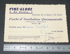 CARTE D'INVITATION PERMANENTE 1976 CINE-GLOBE CLERMONT FERRAND CINEMA