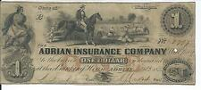 Michigan Adrian Insurance Company $1 1852 A80 #2797 Overseer on Horse Issued