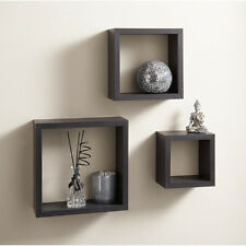 3 floating cube wall mountable square cd dvd Ornaments storage shelf