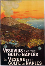 TV85 Vintage 1925 Vesuvius Gulf Of Naples Italian Italy Travel Poster A2/A3