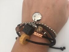 bracelet,leather, rope and metal beaded, charms adjustable