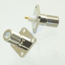 5pcs Connector F female jack 4-hole 17.5m flange solder panel mount straight