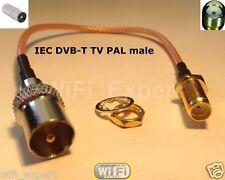 1 x 8 inch IEC DVB-T TV PAL male plug to SMA female jumper coax cable RG316 USA