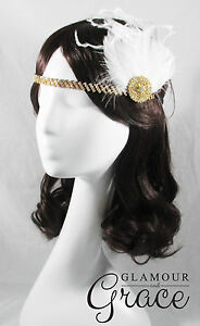 Charleston vintage gatsby 1920s costume ivory feather hair accessory headpiece