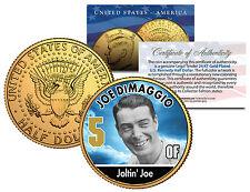 """JOE DIMAGGIO """"JOLTIN JOE"""" 24KT GOLD PLATED U.S. JOHN F. KENNEDY HALF DOLLAR! #5!"""