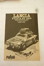 ADVERTISING PUBBLICITA' LANCIA FULVIA HF1600 spedizione polare POLISTIL -- 1974