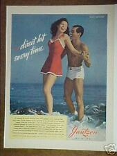 1942 JANTZEN SWIM SUIT FASHION~HURRELL PHOTO~DIRECT HIT EVERY TIME PAPER AD
