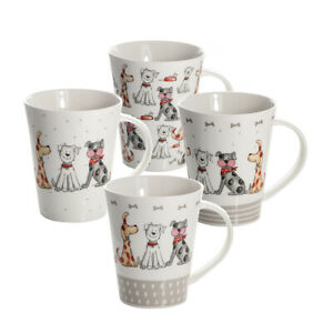 Dog Mugs Cups Set 4 Coffee Tea Porcalain China Dog Gifts for Dog Lovers Owners