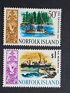 Norfolk Island 2 MH stamps 1967 - 1968 Ships