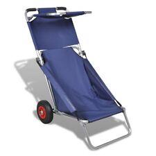 Nuovo Carrello da Spiaggia con Ruote Portatile Pieghevole Blu Trolley Sdraio
