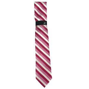 J Ferrar JF Narrow Pink White Modern Fuschia Striped Polyester Tie Necktie