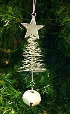 SILVER METAL WIRE SPRINGY CHRISTMAS TREE CHRISTMAS ORNAMENT w/WHITE JINGLE BELL