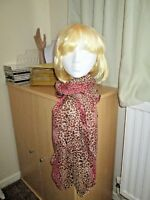 LEOPARD SCARF - SHAWL - BROWN / PINK