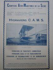4/1927 PUB CAMS SEINE SARTROUVILLE HYDRAVION AMPHIBIE CAMS -37 GUILBAUD AD