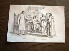 Incisione rame del 1851 Alfonso II Aragona Duca Calabria Re Napoli Abdicazione