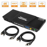 2x1 Port HDMI KVM Switch Audio Switcher 3840x2160@60Hz USB 2.0 HDCP2.2 HDR10