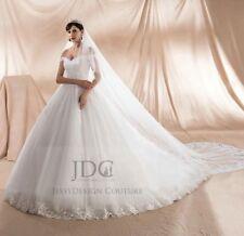 Luxus Carmen Spitze Brautkleid Ivory Schnürung lange Schleppe Maßanfertigung Neu