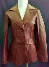 Genuine 1970s Vintage ARGENTINIAN LEATHER  Womens Jacket XS Brown Wide Lapels