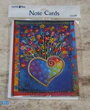 LEANIN TREE Laurel Burch Heart with Flowers #35936~8 Notecards~Blank Inside~