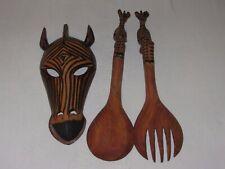 Carved Wood Zebra Mask Face Wall Hanging + Salad Server Set Fork Spoon Vtg