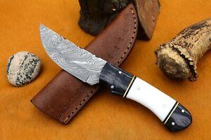 MH KNIVES CUSTOM HANDMADE DAMASCUS GUT HOOK HUNTING/SKINNER KNIFE D-81M