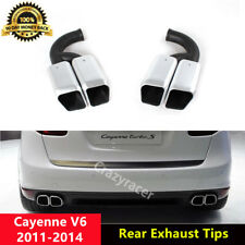 Cayenne V6 Tail Exhaust Tips Silver Muffler Pipe for Porsche Cayenne V6 2011-14