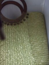Stunning Citrus Green Woven Straw w/ Wood and Bead Handles Tote Purse unbranded