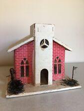 Vtg Large Cardboard Putz Musical House Church Brick Christmas Decor 8� Tall