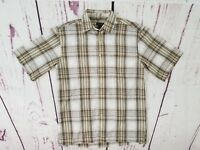 George Button Up Shirt Men's S 34 - 36 Short Sleeve Brown White Plaid Polyester