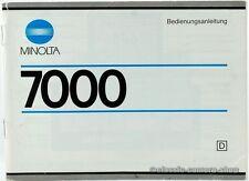 "Minolta manuale d'uso ""Minolta 7000"" user manual istruzioni Fotocamera (x2357"
