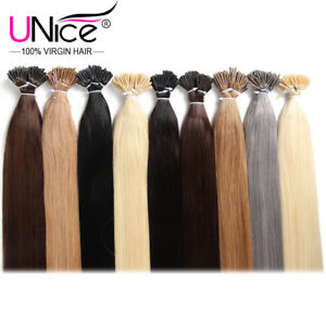 """UNice 100S Keratin I Tip 100% Indian Remy Human Hair Extensions Straight 18""""-24"""""""