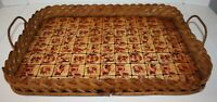 """Vintage Wood Bottom Wicker Sides Serving Tray 19"""" x 14"""""""