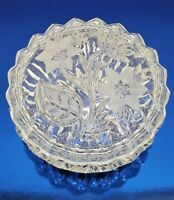 Vtg Beautiful Crystal Glass Frosted Flower Lidded Bowl Candy Dish Holiday Party