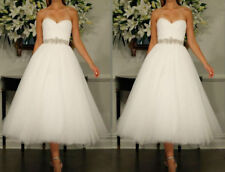 Tea Length White Ivory Wedding dress Stock size 6 8 10 12 14 16 18
