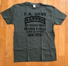 US Army T-shirt, SAPPER Military Essayons green cotton tee size L new