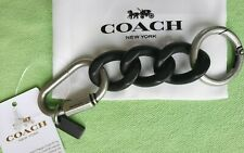 COACH CHAIN LINK CARABINER KEY RING:NWT BLACK/SILVER 25730