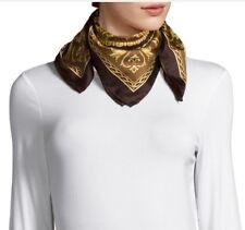 "$350 VERSACE Foulard Print Royal 100% Silk Scarf 24"" X 24"" or 61 X 61 cm Italy"