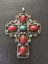 With Turquoise And Red Coral Large Native Vintage Sterling Silver Cross