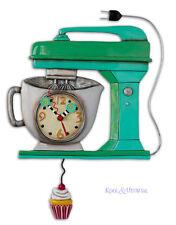 "Funky GREEN ""Vintage Mixer"" Cafe Designer Wall Clock by Allen Designs"