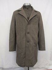 Men's M Kenneth Cole Reaction Brown Herringbone Wool Peacoat Jacket MSRP 275 M19