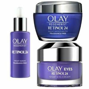 OLAY RETINOL 24 Night Eye Cream, Serum & Night Moisturiser Fragrance-Free, NEW