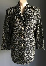 Vintage MY TIME Blue & Taupe Floral Print Tapestry Long Sleeve Jacket Size 14